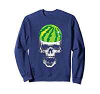 Skull Watermelon Cool Summer Fruit Melon Lover Gift Shirts Sweatshirt Navy