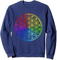 Blume Des Lebens Heilige Geometrie Spirituell Zen Yoga T-shirt Sweatshirt Navy