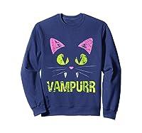 Halloween Scary Cat Vampire Vampurr Girl Shirts Sweatshirt Navy