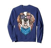 Fourth Of July Bernard American Flag July 4th St Bernard Dog T Shirt Sweatshirt Navy