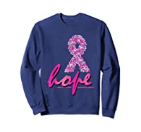 Hope Pink Ribbon Breast Cancer Awareness Month T Shirt Sweatshirt Navy