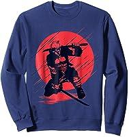 Marvel Deadpool Red Moon Samurai Graphic T-shirt Sweatshirt Navy