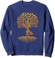 Da Baum Des Lebens With Woman Yoga T-shirt Chakra Haka Yoga T-shirt Sweatshirt Navy