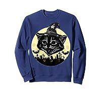 Vintage Scary Halloween Black Cat Witch Hat Moon Pumpkin Bat T Shirt Sweatshirt Navy