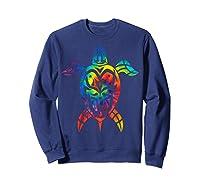 Save Sea Turtles Rainbow Tie Dye Hawaiian Shirts Sweatshirt Navy