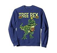 Tree Rex Shirt Christmas T Rex Dinosaur Pajama T-shirt Sweatshirt Navy