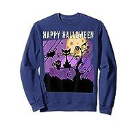 Spoopy Funny Halloween Black Cat Witch Hallow S Eve Joke T Shirt Sweatshirt Navy