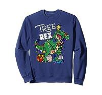 Tree Rex Dinosaur Christmas Gift T Rex Pajamas Xmas Premium T-shirt Sweatshirt Navy