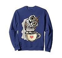 Cute Owl Cartoon Bird Hand Draw T Shirt Design Sweatshirt Navy