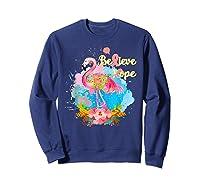 Pink Flamingo Believe Hope Breast Cancer Awareness Month T Shirt Sweatshirt Navy
