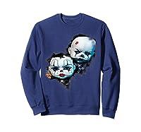 Creepy Evil Clown Halloween T-shirt Sweatshirt Navy