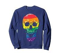 Lgbt Gay Pride T-shirt Skull Rainbow Sweatshirt Navy
