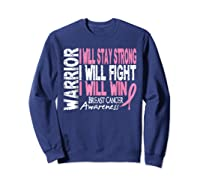 Breast Cancer Awareness Month Pink Ribbon Warrior T Shirt Sweatshirt Navy