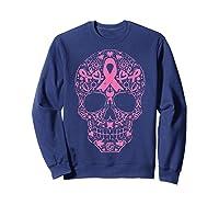 Sugar Skull Pink Ribbon Calavera Breast Cancer Awareness T Shirt Sweatshirt Navy