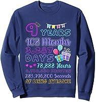 9 Years Old Gifts 9th Birthday Shirt Countdown T-shirt Sweatshirt Navy