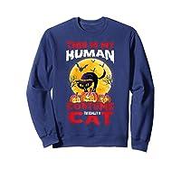 Cat Funny Halloween T-shirt For Girls Adults Sweatshirt Navy