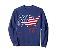 B Ross 1776 American Flag Eagle 4th Of July Shirts Sweatshirt Navy