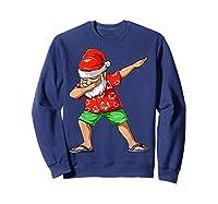Dabbing Santa Christmas In July Party Hawaiian Santa Beach Shirts Sweatshirt Navy