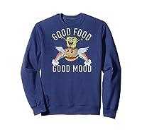 Spongebob Squarepants Good Food Good Mood Text Poster Baseball Shirts Sweatshirt Navy