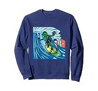 Area-51 Alien Surfing Ocean Wave Lazy Surfer Halloween Gift Tank Top Shirts Sweatshirt Navy