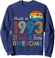 Made In 1993 Vintage Retro 28 Years Old 28th Birthday Gifts T-shirt Sweatshirt Navy