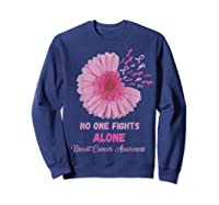 Breast Cancer Awareness Month Pink Ribbons Flower T T Shirt Sweatshirt Navy