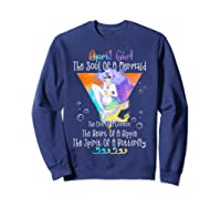 April Girl The Soul Of A Mermaid The Fire Of A Lioness Shirts Sweatshirt Navy