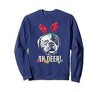 Oh Deer Funny American Bulldog Xmas Premium T-shirt Sweatshirt Navy