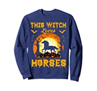 This Witch Loves Horses T-shirt Halloween Cosplay Sweatshirt Navy