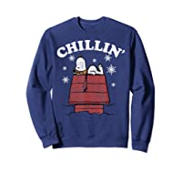 Peanuts Snoopy Holiday Chillin Shirts Sweatshirt Navy