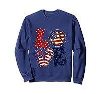 Love Softball Usa Flag 4th Of July Flip Flop Softball Usa Shirts Sweatshirt Navy