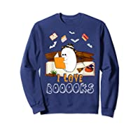 Halloween Day Cute Boo Love Books Tee Funny Librarian Gifts T Shirt Sweatshirt Navy