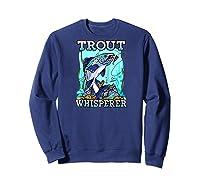 Funny Trout Fishing, Fish Fisherman Gifts Baseball Shirts Sweatshirt Navy