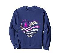 Funny Love Heart Breast Cancer Awareness Pink Ribbon Month Tank Top Shirts Sweatshirt Navy