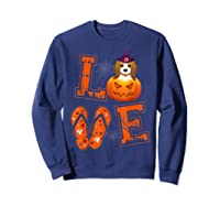 Love Beagle Pumpkin Halloween T-shirt Halloween Gifts Sweatshirt Navy