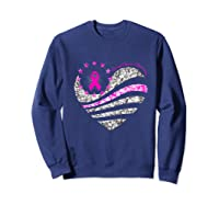 Funny Love Heart Breast Cancer Awareness Pink Ribbon Month Premium T Shirt Sweatshirt Navy
