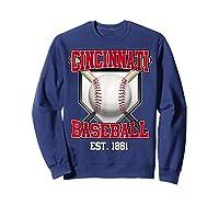 Cincinnati Baseball Retro Vintage Baseball Design Shirts Sweatshirt Navy