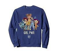 Disney Pixar Toy Story 4 Grl Pwr Distressed T-shirt Sweatshirt Navy