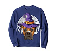 Boxer Witch Hat Funny Halloween Gifts Dog Lover Girls T-shirt Sweatshirt Navy