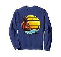 Florida Sunshine State Retro Summer Tropical Beach Shirts Sweatshirt Navy