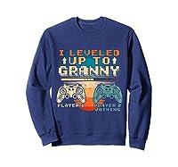 Leveled Up To Granny Vintage Gamer Promoted Shirts Sweatshirt Navy