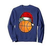 Ball Basketball Santa Hat Christmas Matching Funny Gifts Shirts Sweatshirt Navy