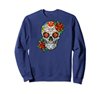 Dia De Los Muertos / Day Of The Dead Sugar Skull Graphic Raglan Baseball Ts Shirts Sweatshirt Navy