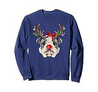 Funny Bulldogs With Antlers Light Christmas Shirts Sweatshirt Navy