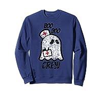 Vintage Boo Boo Crew Funny Halloween Ghost Nurse Nursing Shirts Sweatshirt Navy