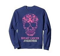 Breast Cancer Awareness Month Skull Halloween Shirts Sweatshirt Navy