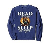 Sleep All Day Read All Night Bookish Read A Book Day Owl T Shirt Sweatshirt Navy
