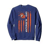 Oklahoma State Cow Nation Flag Apparel Shirts Sweatshirt Navy