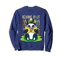 Reading Is Lit Panda Bear Funny English Tea Tee T Shirt Sweatshirt Navy