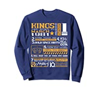 39th Birthday Gift Kings Born In March 1981 39 Years Old Shirts Sweatshirt Navy
